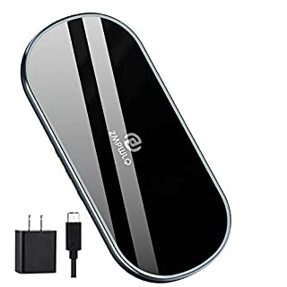 Dual Wireless Charging Mat Fast Wireless Charger iPhone Wireless Charging Pad Station Qi 5 Coils 10W Large Multiple Devices Compatible with iPhone 11 X XS Max Samsung USB C Adapter Included