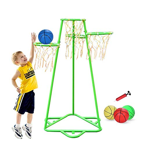 Pantrasamia Kids Basketball Hoop Portable Basketball Stand with 3 Hoops at Varying Heights and 3 Balls Toy Set for Age 2 Years and Up for Toddlers Indoor and Outdoor Sport Games (Green)