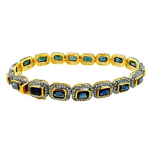 Gold Bracelets Gemstone Tennis (14k Gold Gemstone Tennis Bracelet 925 Silver Pave 2.6ct Diamond Jewelry)