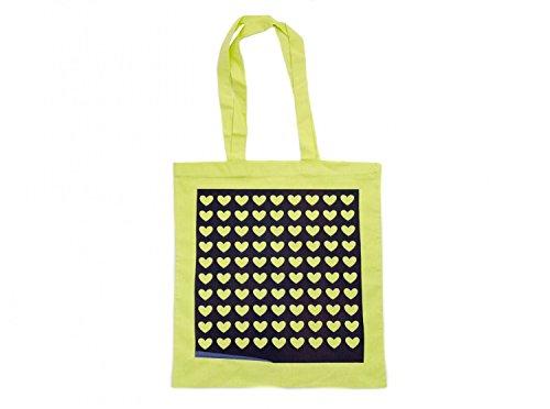Baumwolltragetasche Jutebeutel Beutel Miniblings neongrün GLATT Herzen schwarz