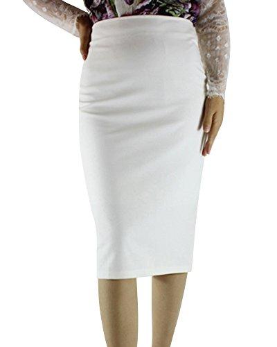 Femme Jupe Crayon Basique Fentes Couleur Unie Paquet Jupe de Hanche Blanc