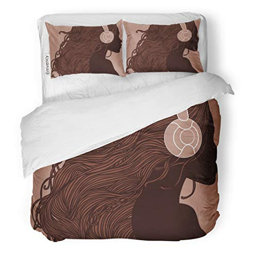 Semtomn Decor Duvet Cover Set King Size Profile of Pretty African American Girl Long Hair 3 Piece Brushed Microfiber Fabric Print Bedding Set -