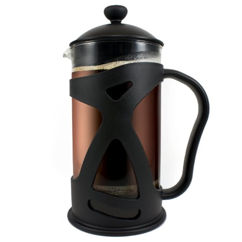 KONA French Press, Simple To Use Stylish 34oz Coffee Tea Espresso Maker With Reusable Filter, Comfortable Handle & Glass Protecting Durable Shell