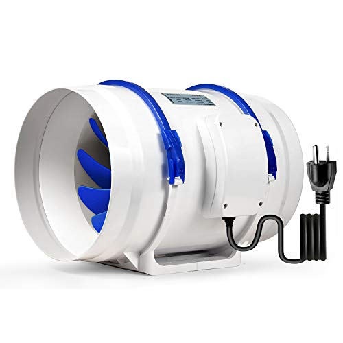 Hon&Guan Inline Duct Fan Exhaust Fan 470 CFM, Powerful Mixed Flow Inline Fan Hydroponic Air Blower for Home Ventilation…