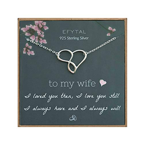 EFYTAL Wife Gifts, Wife Birthday Gift Ideas For Her, Romantic Sterling Silver Infinity Heart Necklace Jewelry for Women, Cute Anniversary / Valentines Day Present (Her Valentines Present For Day)