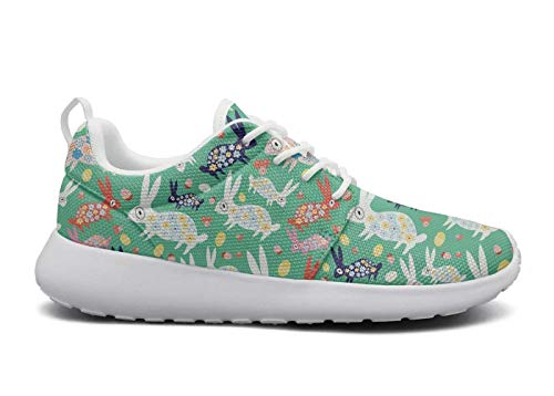 for Women Ultra Lightweight Breathable Mesh Athleisure Sneakers Cute Easter Pink Bunny Green Fashion Walking Shoes -