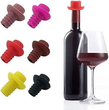 Tapas de Silicona para Botellas de Vino, 6 Piezas Corchos de Vino Reutilizables, Tapón de Silicona para Vino, Tapas de Botellas de Vino, para Mantener Fresco para Vino, Cerveza, Champán, Vino Espumoso