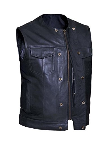 Unik International Mens Premium SOA Style Collarless Leather Club Vest Small from Unik International