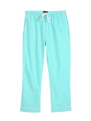(Women's 100% Cotton Poplin Lounge Pants - Dots Diva Aqua White - Large)