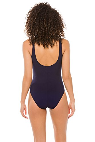 Karla Colletto Women's Basic One Piece Wide Strap Tank Swimsuit Navy 8