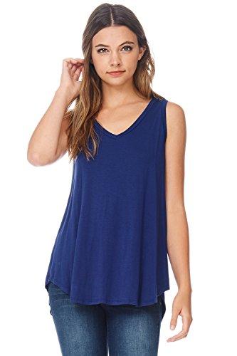 - Alexander + David Women's Casual Summer Sleeveless V-Neck Tank Tunic Top with Uneven Hem Hi-Lo Bottom Loose Knit T-Shirt (E. Blue, Large)