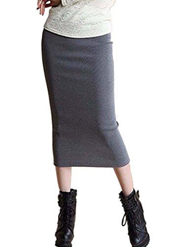 SIMPVALE Mujer Lápiz Mediados Faldas Oficina de Mediados de Cintura Sólida Delgado de La Cadera Placketing Faldas Señora Gris