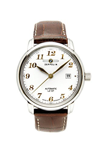 Zeppelin LZ127 Graf Zeppelin Automatic Men's Analog Date Watch Brown Strap 7656-1