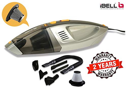 iBELL Car Vacuum Cleaner High Power for Quick Car Cleaning, DC 12V, 6 Types of Nozzle - 2 Year...