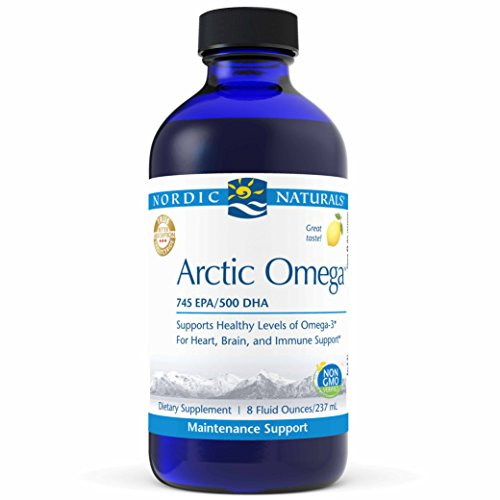 Nordic Naturals Pro Arctic Omega Liquid- Fish Oil, 745 mg EPA, 500 mg DHA, Helps Maintain Healthy Omega-3 Levels for Heart, Brain, and Immune Support, Lemon Flavored, 8 oz ()