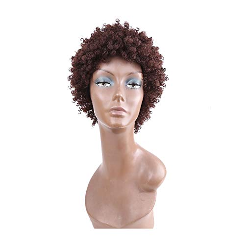 Amir Afro Wigs For Women Adjustable Synthetic Short Afro Kinky Curly Wigs Brown Short Wigs,Brown,8inches ()