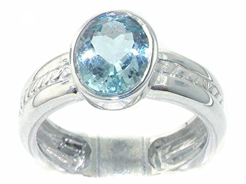 925 Sterling Silver Natural Aquamarine Womens Solitaire Ring - Sizes 4 to 12 Available