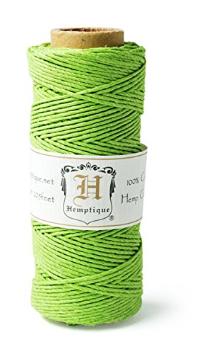 Hemptique HS20-LMGRN Hemp 20-Pound Cord Spool, Lime Green, (Green Hemp Cord)