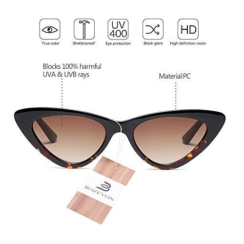 Mode Léopard Vintage verres Rétro Femmes de soleil BOZEVON lunettes Dames Marron Lunettes à Triangle w07E0qX