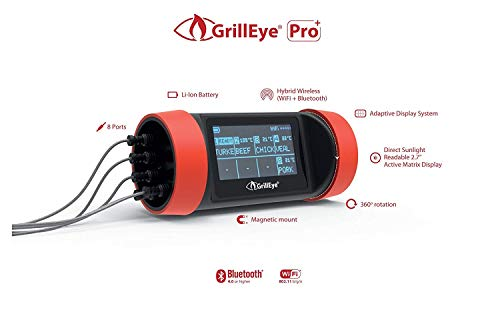 GrillEye Pro Plus Hybrid – Wireless Thermometer kit (Includes 2 Probes in Box) – Free 2-Day Shipping (Including HI and AK)