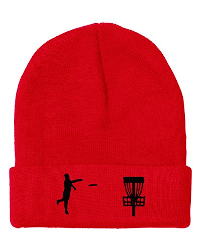 Disc Golf Sport Embroidered Style 1 Unisex Adult Acrylic Beanie Winter Hat - Red, One Size -
