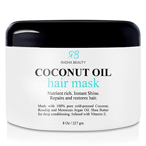 Huile de coco Hair Mask - revitalisant en profondeur avec 100 % pressée à froid de noix de coco, Argan, huile de Rose musquée & beurre de karité - réparation et hydrater secs, endommagés ou couleur cheveux - pour les cheveux tous types 8 Oz
