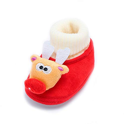 Nice Snowman - Nice Unisex Baby Christmas Snowman Boots Infant Soft Sole Cotton Casual Shoes (Age:0-6M, red)