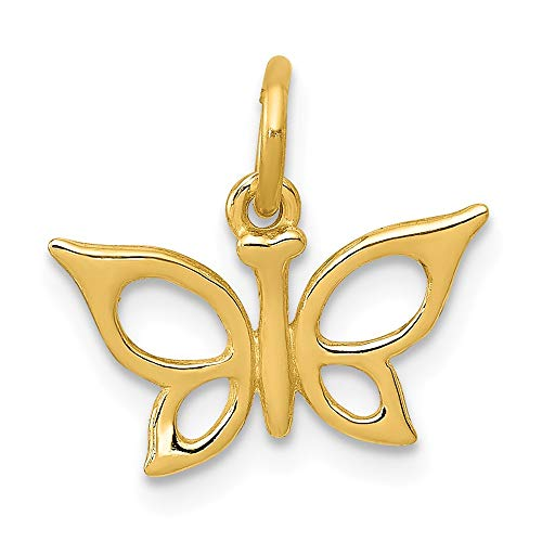 Real 14kt Yellow Gold Butterfly Charm ()