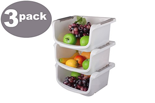 Ybm Home Plastic Stackable Storage Basket Organizer Tray Open Bin Set of 3 White 2137 (Basket Stackable)