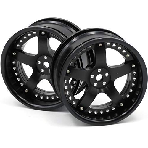 hobbysoul 2pcs RC 1/10 Aluminum Alloy Wheel Rims Hex 12mm Adjustable Offset Black Color Fit 1:10 RC On Road Drift Touring Car Tires ()