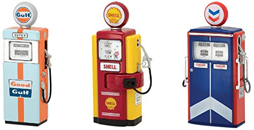 Greenlight 14010 Vintage Gas Pumps Series 1 Complete Set of 3 Gulf Shell and Standard Oil 1:18 Scale (Antique Gas Pump)