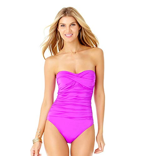 (Anne Cole Women's Twist Front Shirred One Piece Swimsuit, New Purple, 6)