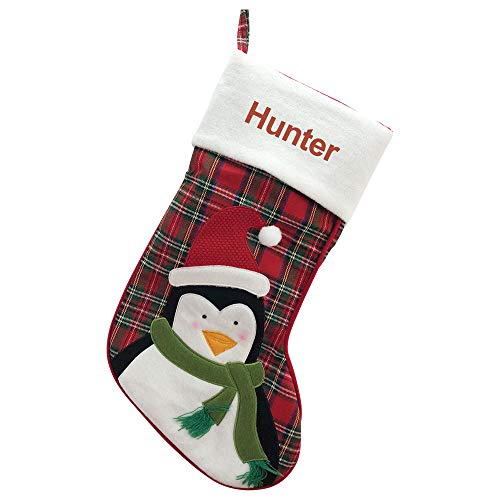 GiftsForYouNow Personalized Plaid Penguin Christmas Stocking