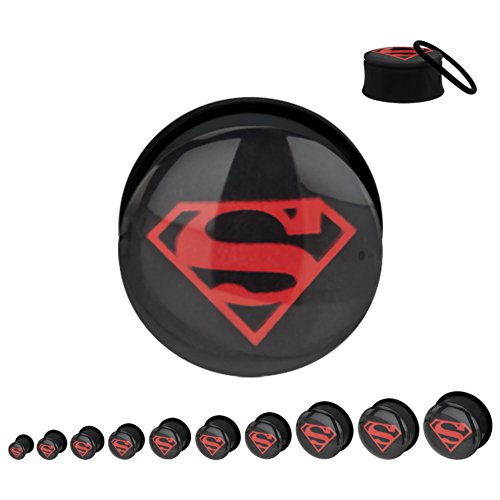 "DC+Comics Products : Licensed DC Comics Superman Red/Black Logo Screw Fit Acrylic Plug Size: 9/16"" (with Gift Box)"