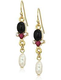 Silver-Tone Semi-Precious and Pearl Drop Earrings