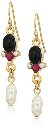 (1928 Jewelry Gold-Tone Semi-Precious Black Onyx and Pearl Drop Earrings)