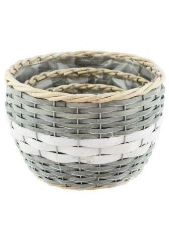 Round Rattan Willow Baskets in Tan and Grey - 3 per Set - 4