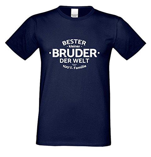 Bruder Geschenkeset Fun-T-shirt zu Weihnachten oder zum Geburtstag mit GRATIS Urkunde - Bester kleiner Bruder der Welt Farbe: navy-blau Gr: XXL