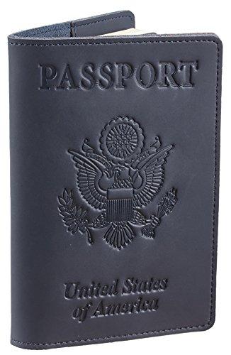 SimpacX Genuine Leather Passport Cover Holder RFID Blocking for Men & Women Travel Wallet (vintage deep blue)