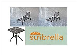 Elizabeth Outdoor Patio 3pc Set Chaise Lounges Dark Bronze Cast Aluminum Sunbrella Sesame cushions