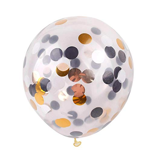 10pcs 12inch Colorful Confetti Balloon Happy Birthday Balloons Baby Shower Decorations,Black Gold Silver]()