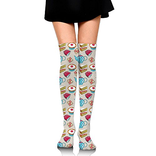 Teapot And Cake Elements Over The Knee Long Socks Tube Thigh-High Sock Stockings For Girls & Womens