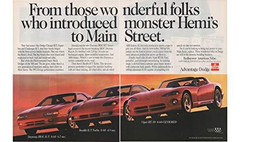 Magazine Print Ad: Red 1992 Dodge Daytona IROC R/T, Stealth R/T Turbo, Viper RT/10,