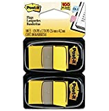 Post-it Flags, Yellow, 1-Inch Wide, 50/Dispenser, 2-Dispensers/Pack