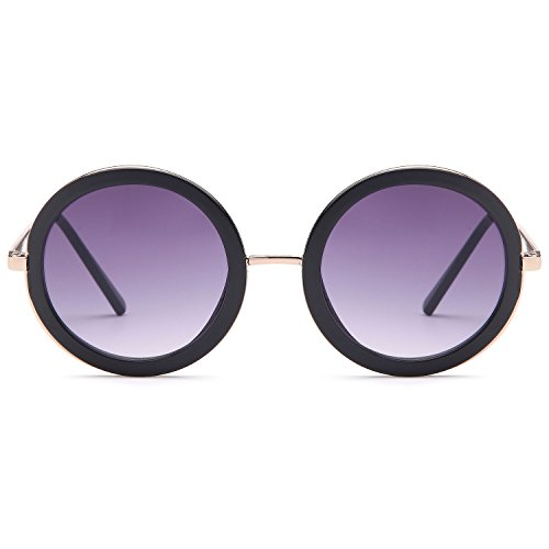 (CATWALK Sun Lounger Series UV400 Womens Vintage Retro Round Sunglasses - Gradient Purple Lens on Gold & Black Frame )