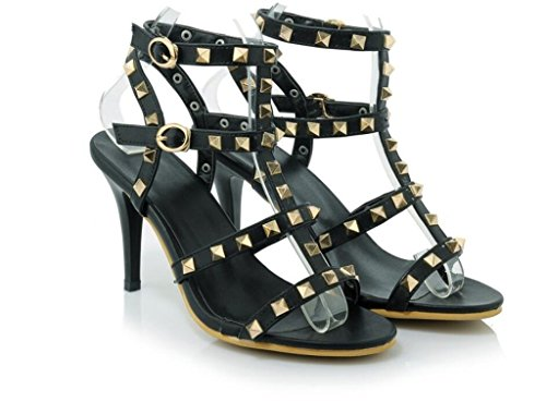 Black 9cm remaches Sandalias Color 31 41 Sandalias 38 Compras color 37 fiesta Romanas Comodidad Xie gwRTCqnO