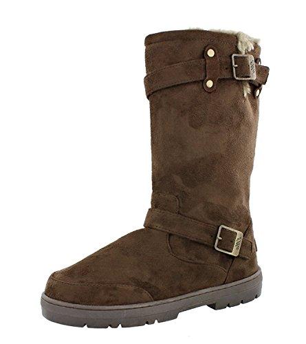 Ella Ladies Women's Biker Fur Lined Flat Winter Snow Boot - Chestnut Brown, Black, Dark Brown, Grey Brown
