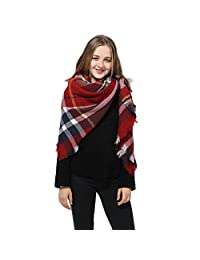 Red Scarf Plaid Blanket Scarf Women Big Square Long Scarves Warm Tartan Checked Shawl
