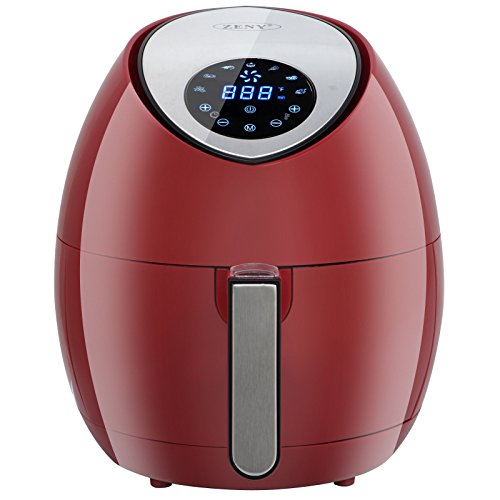ZENY 3.7 Quarts 7-in-1 Electric Air Fryer Touch Screen Control Programmable, 7 Cooking Presets for Healthy Oil Free Cooking, w/Recipe Book and Dishwasher Safe Parts (Burgundy Red) by ZENY (Image #3)