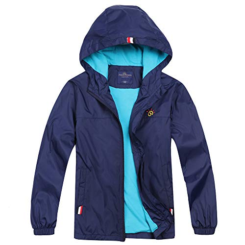 Jingle Bongala Boys' Girls' Waterproof Jackets Lightweight Hooded Windbreaker-Navy-160